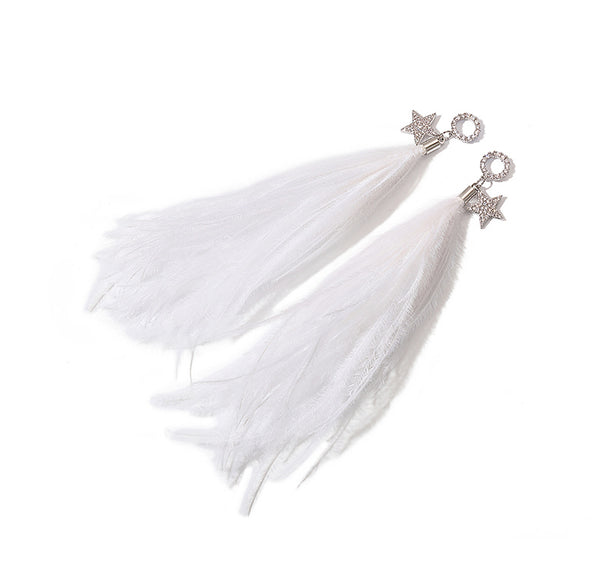 ZEGL CRYSTAL EARRINGS WITH WHITE FEATHER DROP