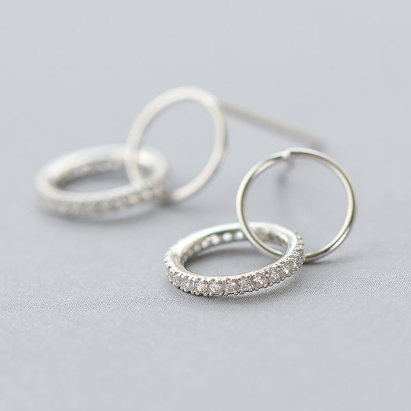 SILVER OF LIFE 925 TUBE HOOP SILVER EARRINGS WITH CRYSTAL DETAIL