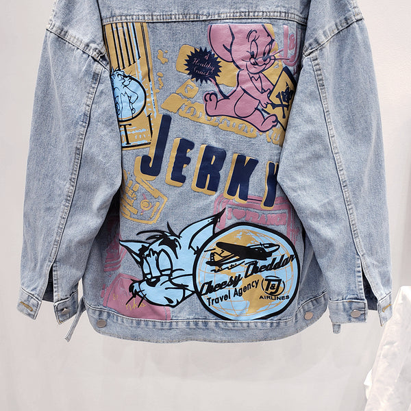 VANESSA JUSSO JERKY MOUSE AND CAT CARTOON PRINT DENIM JEAN WOMEN JACKET - boopdo