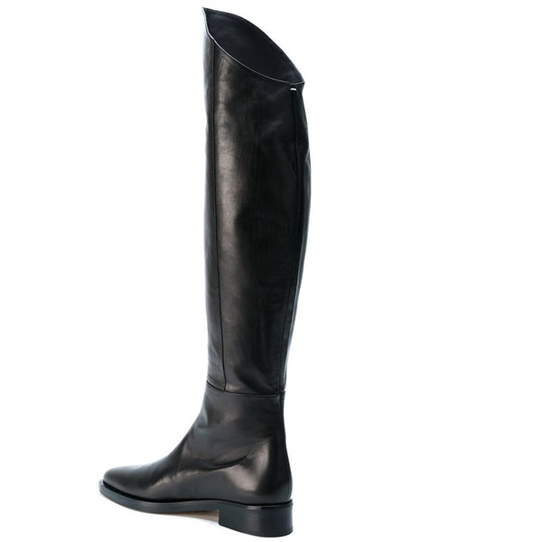 NADEMILIA GOERGA BLACK LEATHER LOOK OVER THE KNEE UNISEX BOOTS