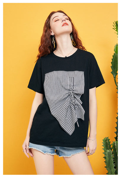 ARTKA CHECK PATCHES T SHIRT IN BLACK - boopdo
