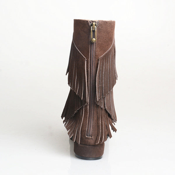 PROVA PERFETTO HANDMADE SIDE ZIPPER LOW HEELED BOOTS WITH TASSEL - boopdo