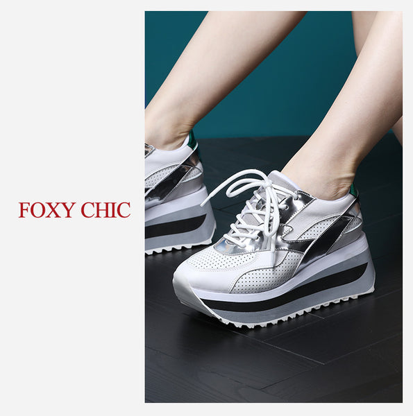 FOXY CHIC DELILAH MOLLY STYLE CHUNKY SOLE LEATHER WOMEN SNEAKER - boopdo