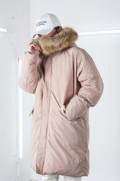 ABOW LIFE STAND COLLAR QUILTED HOODIE JACKET IN APRICOT - boopdo