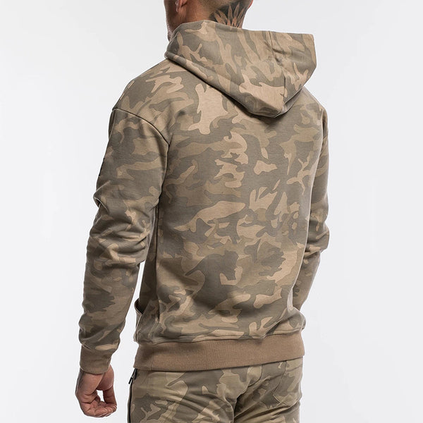 MUSCLE RANGER KING GYM BEAST OUTDOOR HOODIE WITH MATCHING PANTS IN CAMO - boopdo