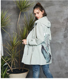 ARTKA HOODED TRENCH COAT WITH BACK PRINT