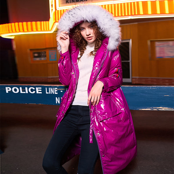 MAXMARTIN FAUX FUR HIGH SHINE PADDED COAT IN PURPLE M83998R54