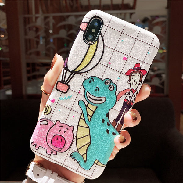 LONELY GOD DINOZOR COWBOY AND PIG JAPANESE CARTOON APPLE IPHONE COVER - boopdo