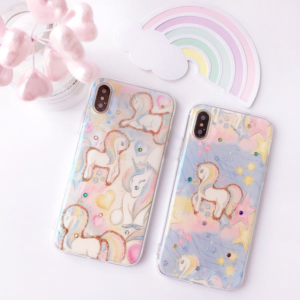 Unicorn Middle Horses Cartoon Print Apple Iphone Cases