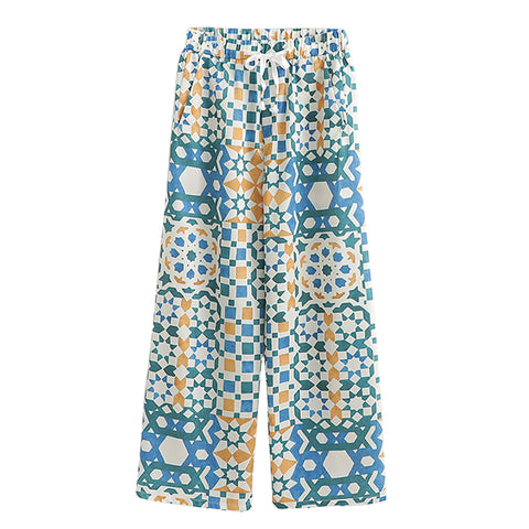 BOOPEXLIA SPANISH STYLE GEOMETRIC CONTRAST COLOR PRINT PANTS