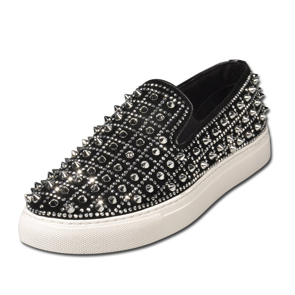 SUDEA TWERKY SHINY CASUAL LEATHER SNEAKERS WITH RIVET - boopdo