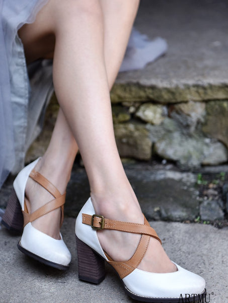 ARTMU VINTAGE INSPIRED CROSS STRAP HEELED SHOES IN WHITE - boopdo