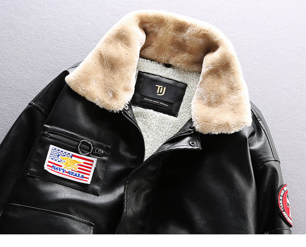 NAVY SEALS AIR FORCE PILOT VELVET MULTI POCKET FAUX FUR LEATHER JACKET