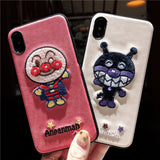 ANPANMAN EMBOSSED MOBILE CLOTH PATTERN IPHONE COVERS - boopdo