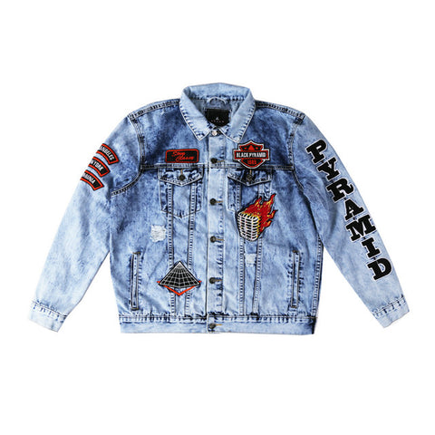 Black Cocktail Graphic Print Street Style Denim Jacket In Blue