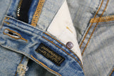 TEXANS MONORZA ADOO WASHED DENIM QUILTED BLUE JEAN PANTS
