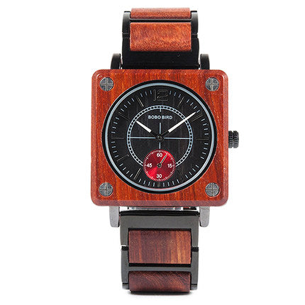 BOBO BIRD BAMBOO WOODEN SQUARE TABLE 3 BAR STAINLESS STEEL WATCH