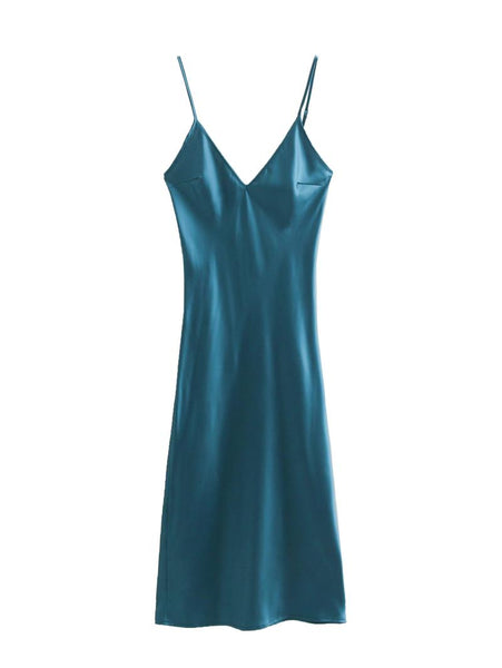 PARLO JIUJO FRENCH DESIGN V NECK SATIN DRESS IN TEAL