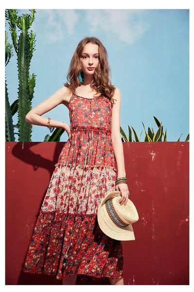 ARTKA FLORAL AND SCARF PRINT MAXI DRESS