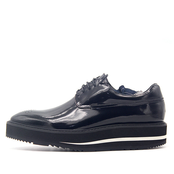 JINIWU VANGUARD OIL WAX LEATHER CHUBBY PLATFORM SHOES IN BLACK - boopdo