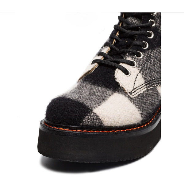 COBBLER CHECKER BRITISH STYLE CHUBBY PLATFORM CASUAL WOMEN BOOTS