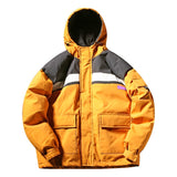 VELCRO ORANGE BLACK LARGE POCKET BOMBER COTTON HOODED JACKET
