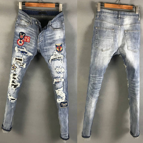 BOOPDO DESIGN AMR BADGE RIPPED WASHED DENIM JEAN PANTS IN BLUE