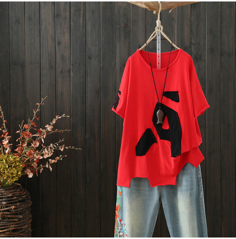AUTUMN MESH LETTER PATCH OVERSIZE TOP