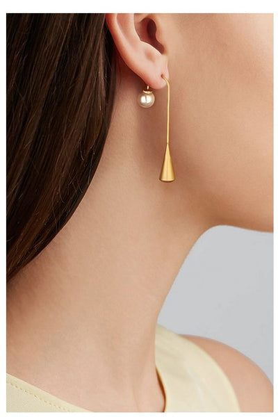 UZL DESIGN GOLD PLATE BELLY BAR EARRINGS WITH PEARLS - boopdo