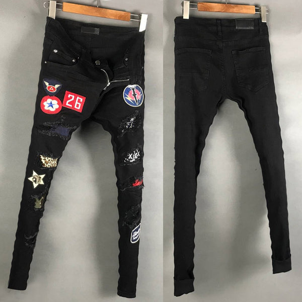 STOVEPIPE AMR PATCHWORK BADGE DENIM JEAN PANTS IN BLACK - boopdo