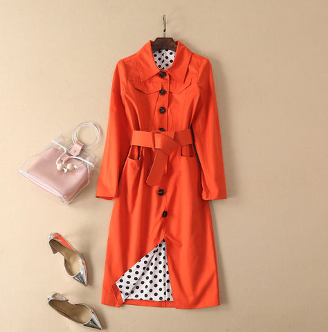BBL DESIGN CONTRAST BUTTON TRENCH COAT