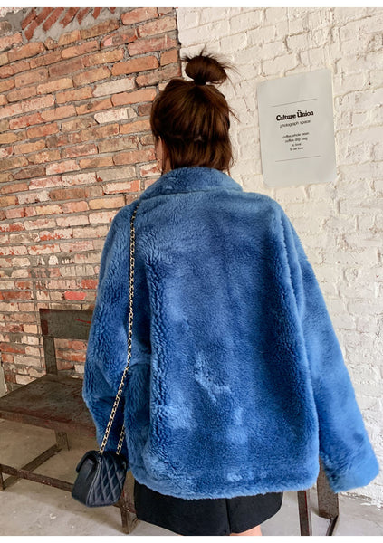 8GIRLS DESIGN TEDDY BUTTON UP COAT IN BLUE - boopdo