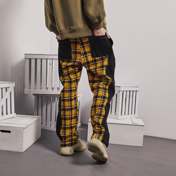 SHOW RICH WILD SOUL PRINT CHECKER TRACK PANTS IN CONTRAST COLORWAY