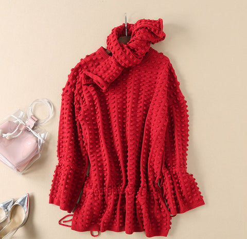 BBL DESIGN KNITTED MINI JUMPER DRESS WITH SCARF AND PEP HEM
