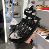LUXE SEVEN DESIGN WIDE FIT CHUNKY BUCKLE FLAT SANDALS - boopdo