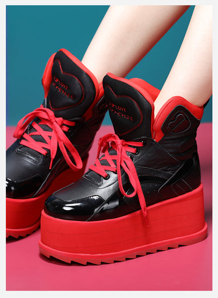 FOXY CHIC DELILAH KATE STYLE CHUNKY PLATFORM HIGH TOP WOMEN BOOTS IN RED - boopdo