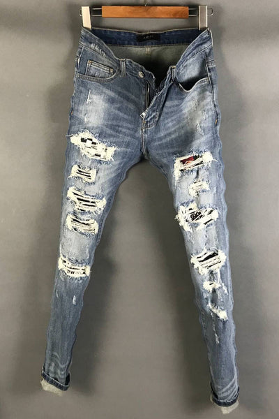 CATEN TWIX RIPPED PATCHWORK WASHED DENIM JEAN PANTS IN BLUE - boopdo