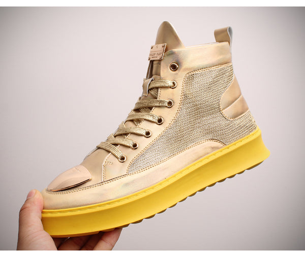 BOOPDO DETACHE JAYME ESPADRILLE ANKLE CASUAL SNEAKER IN GOLD AND SILVER - boopdo