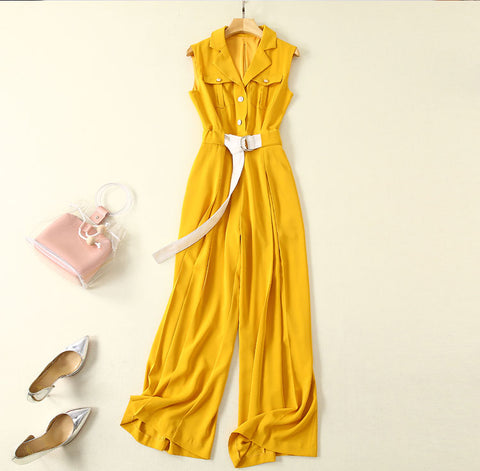BBL DESIGN UTILITY BELTED JUMPSUIT IN YELLOW