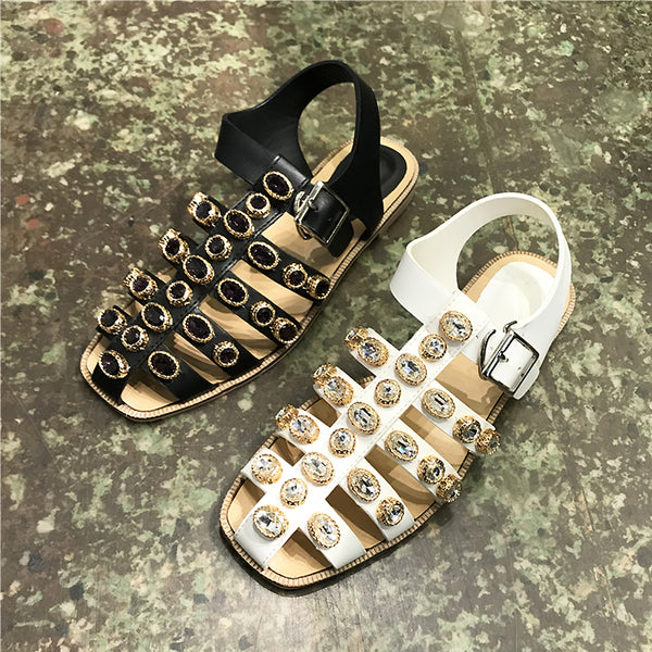 LUXE SEVEN DESIGN EMBELLISHED FLAT SANDALS - boopdo