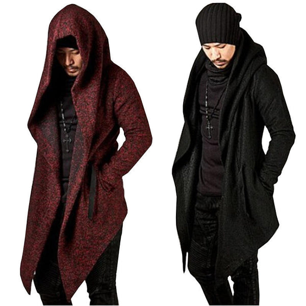 DEZO CATHLON IRREGULAR CUT LONG CARDIGAN WITH HOODIE - boopdo