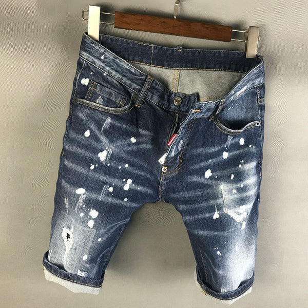 SCOUTAMOI SPRAY PAINT SPLASH INK PATCH DENIM JEAN SHORT PANTS IN BLUE - boopdo