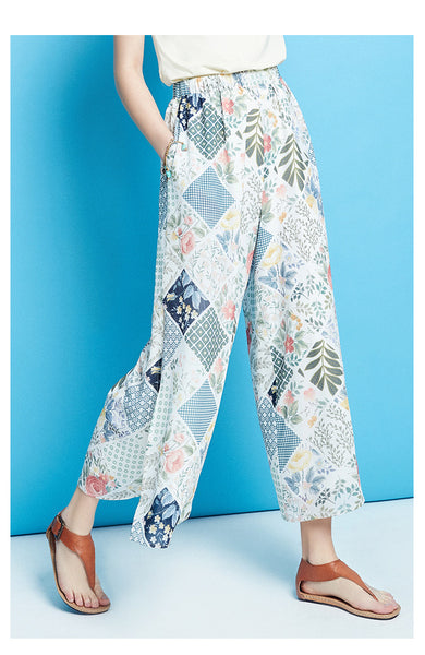 ARTKA WIDE SPLIT LEG TROUSERS IN FLORAL - boopdo