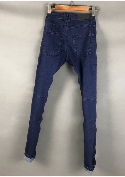 BLM DENIM FABRIC PATCH WASHED DENIM JEANS IN BLUE BLACK - boopdo