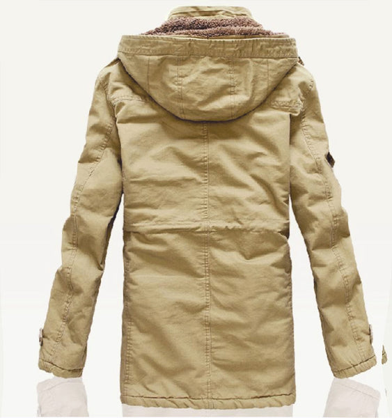 PAWX FAUX LAMB WOOL COTTON PADDED HOODY OVERCOAT