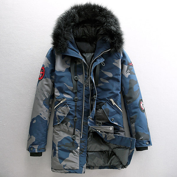 CLASSIC NAVY FIGHTERS CAMOUFLAGE FAUX FUR COLLAR HOOD JACKET - boopdo