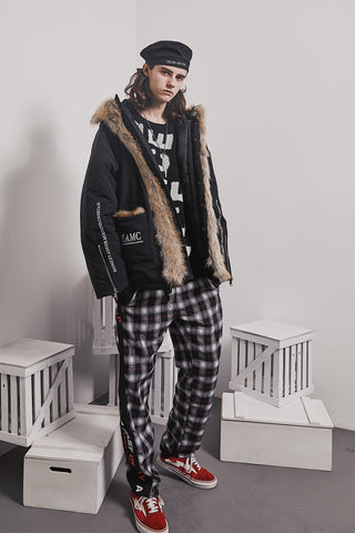 A BELIEF ON WAY BY ABOW LIFE PLAID TRACK PANTS
