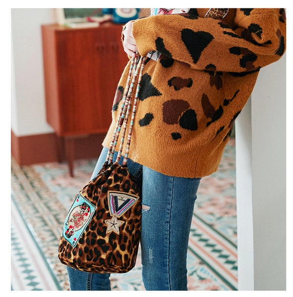 JAM PRINCESS LEOPARD PRINT DRAWSTRING BAG WITH EMBROIDERED