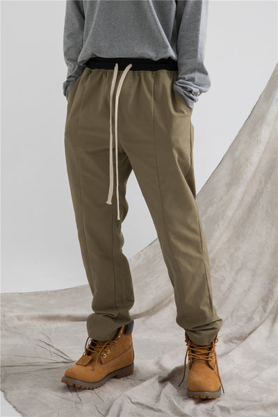 JOGGER BY JOGGER MEDIAZA SLING ELASTIC WAIST CASUAL STRAIGHT CASUAL PANTS - boopdo