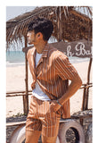 VERRAGE VINTAGE INSPIRED STRIPE SHIRT AND MATCHING SHORTS - boopdo